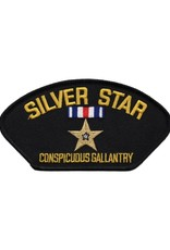 """MidMil Embroidered Silver Star - Conspicuous Gallantry Medal Patch 5.2"""" wide x 2.9"""" high Black"""