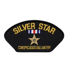 "MidMil Embroidered Silver Star - Conspicuous Gallantry Medal Patch 5.2"" wide x 2.9"" high Black"