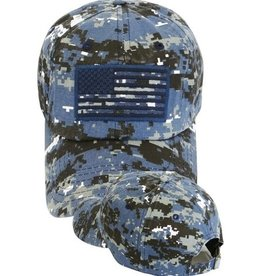 MidMil Subdued American Flag Hat Blue Digital Camouflage