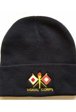 MidMil Army Signal Corps Knit Cuffed Hat with Emblem Black