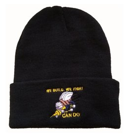 "MidMil Navy Seabees Knit Cuffed Hat with Emblem and ""We Build, We Fight, Can Do!"" Black"