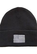 MidMil Black & White American Flag Cuffed Knit Hat Black