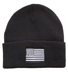 MidMil Black & White American Flag Cuffed Knit Hat Black