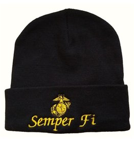 MidMil Marines Semper Fi Knit Cuffed Hat with Globe and Anchor Black