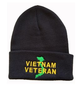 MidMil Vietnam Veteran Knit Cuffed Hat with Country Map Black