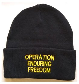 MidMil Afghanistan Operation Enduring Freedom Knit Cuffed Hat Black