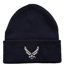 MidMil Air Force Knit Cuffed Hat with Wings Emblem Dark Blue