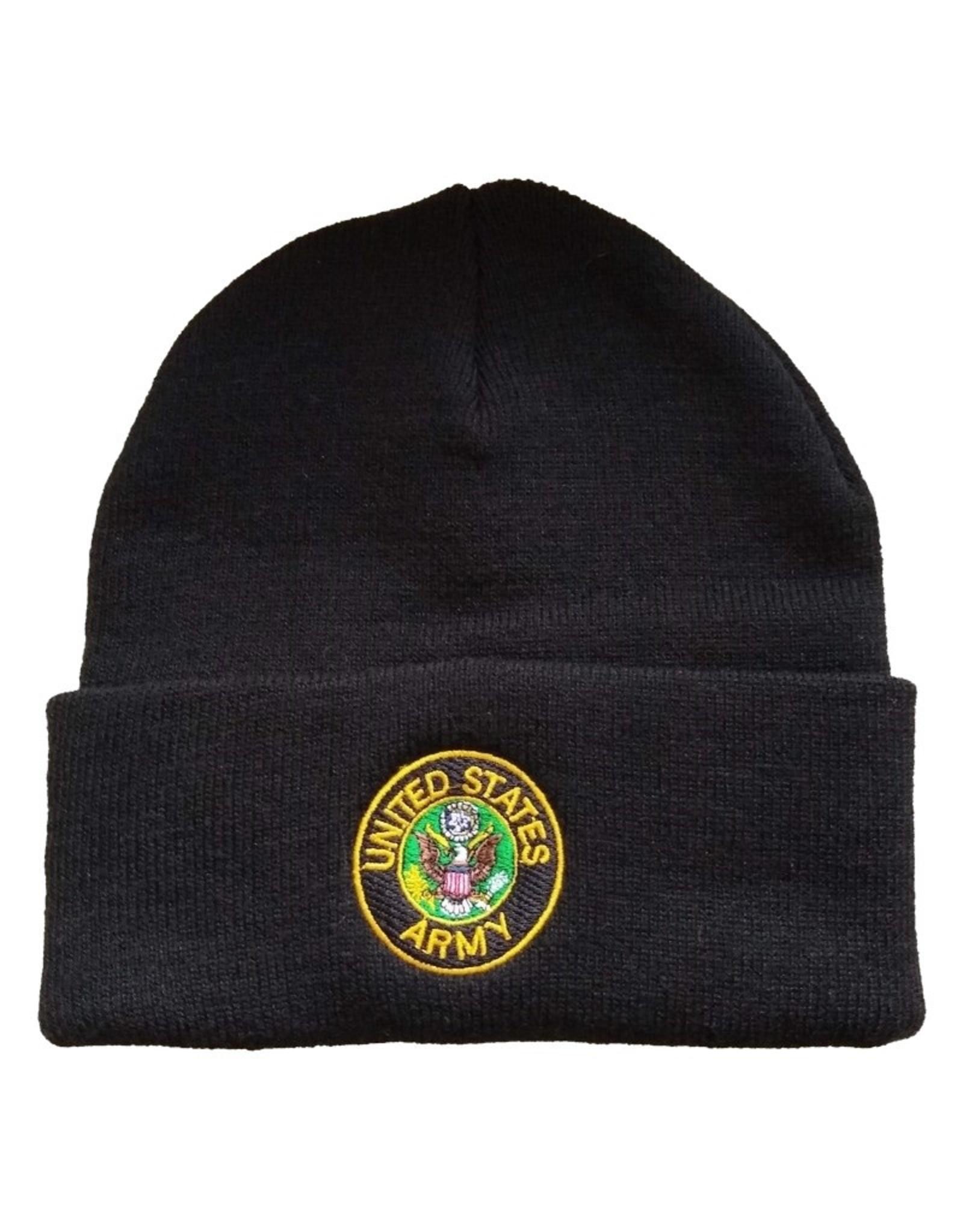 MidMil U.S. Army Cuffed Knit Hat with Army Seal Black