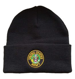 MidMil U.S. Army Cuffed Knit Hat with Army Seal Black