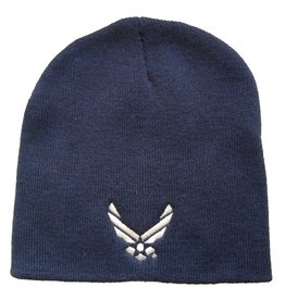 MidMil Air Force Knit Beanie with Wings Emblem Dark Blue