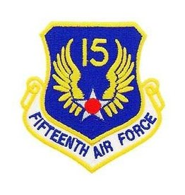 "MidMil Embroidered 15th Air Force Emblem Patch 3.2"" high x 3"" wide"