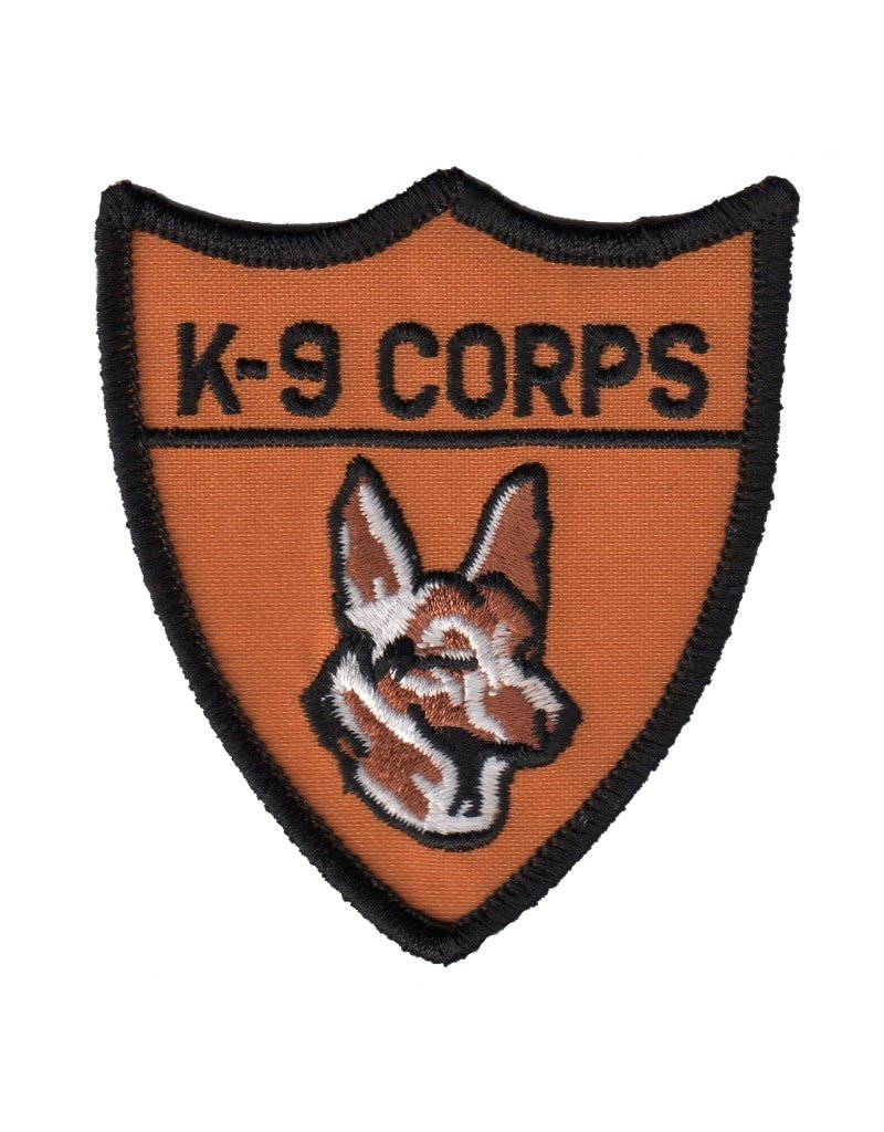 """MidMil Embroidered K-9 Corps Patch 2.8"""" wide x 3.2"""" high"""