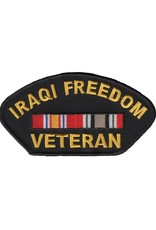 "MidMil Embroidered Iraqi Freedom Veteran Patch with 2 Ribbons 5.2"" wide x 2.8"" high"