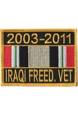 """MidMil Embroidered 2003-2011 Iraqi Freed. Vet Patch with Ribbon 3.5"""" wide x 2.7"""" high"""