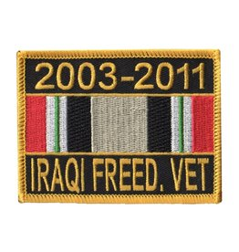 "MidMil Embroidered 2003-2011 Iraqi Freed. Vet Patch with Ribbon 3.5"" wide x 2.7"" high"