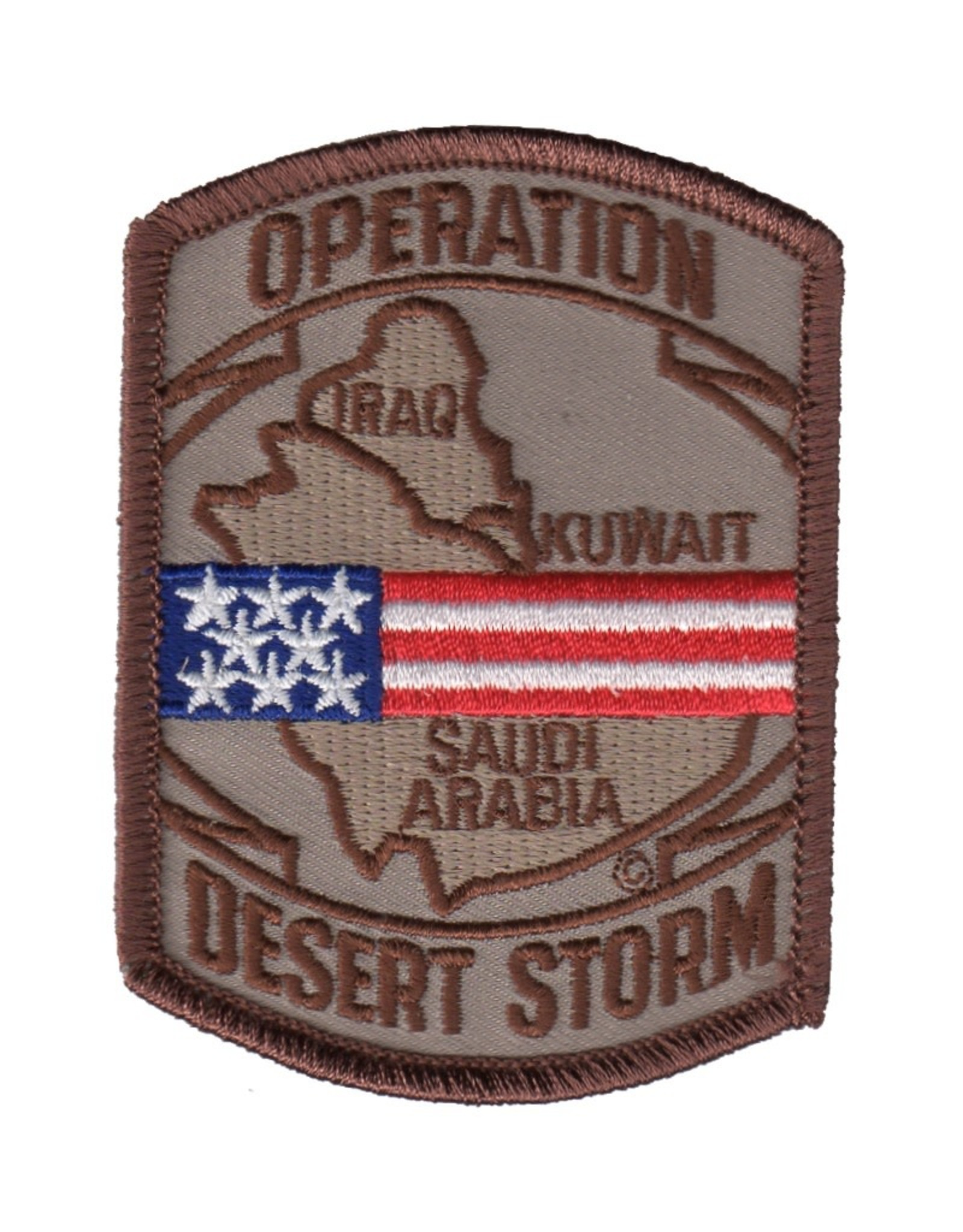 """MidMil Embroiderd Operation Desert Storm Patch with Map 2.5"""" wide x 3.4"""" high Desert"""