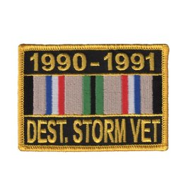 "MidMil Embroidered 1990-1991 Desert Storm Vet, Patch with Ribbon 3.5"" wide x 2.5"" high"
