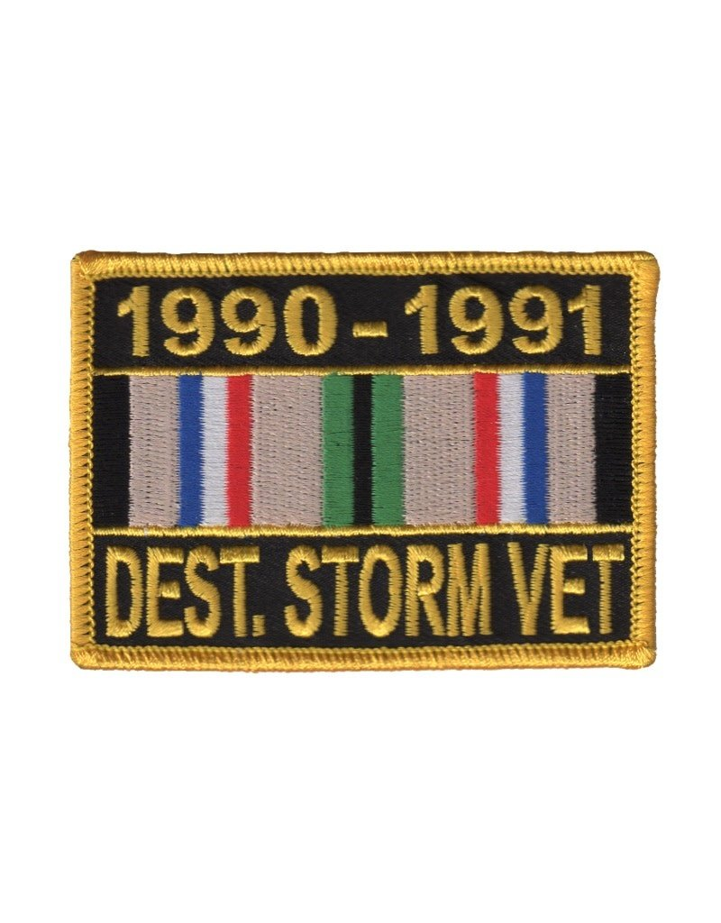 """MidMil Embroidered 1990-1991 Desert Storm Vet, Patch with Ribbon 3.5"""" wide x 2.5"""" high"""