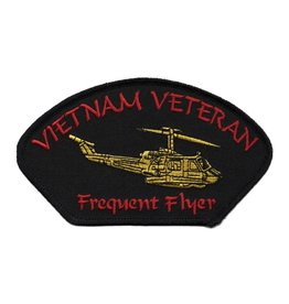 """MidMil Embroidered Vietnam Veteran Frequent Flyer Patch with Helicopter 5.2"""" wide x 2.8"""" high"""
