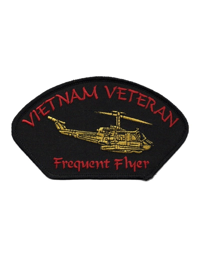 "MidMil Embroidered Vietnam Veteran Frequent Flyer Patch with Helicopter 5.2"" wide x 2.8"" high"