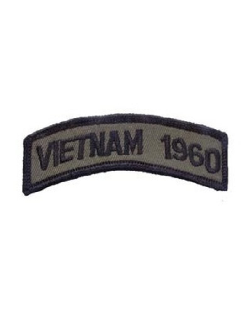 """MidMil Embroidered Vietnam 1960 Tab Patch 3.5"""" wide x 1.3"""" high Olive Drab"""