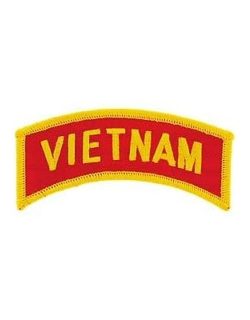 "MidMil Embroidered Vietnam Tab Patch 3.5"" wide x 1.8"" high  Gold on Red"