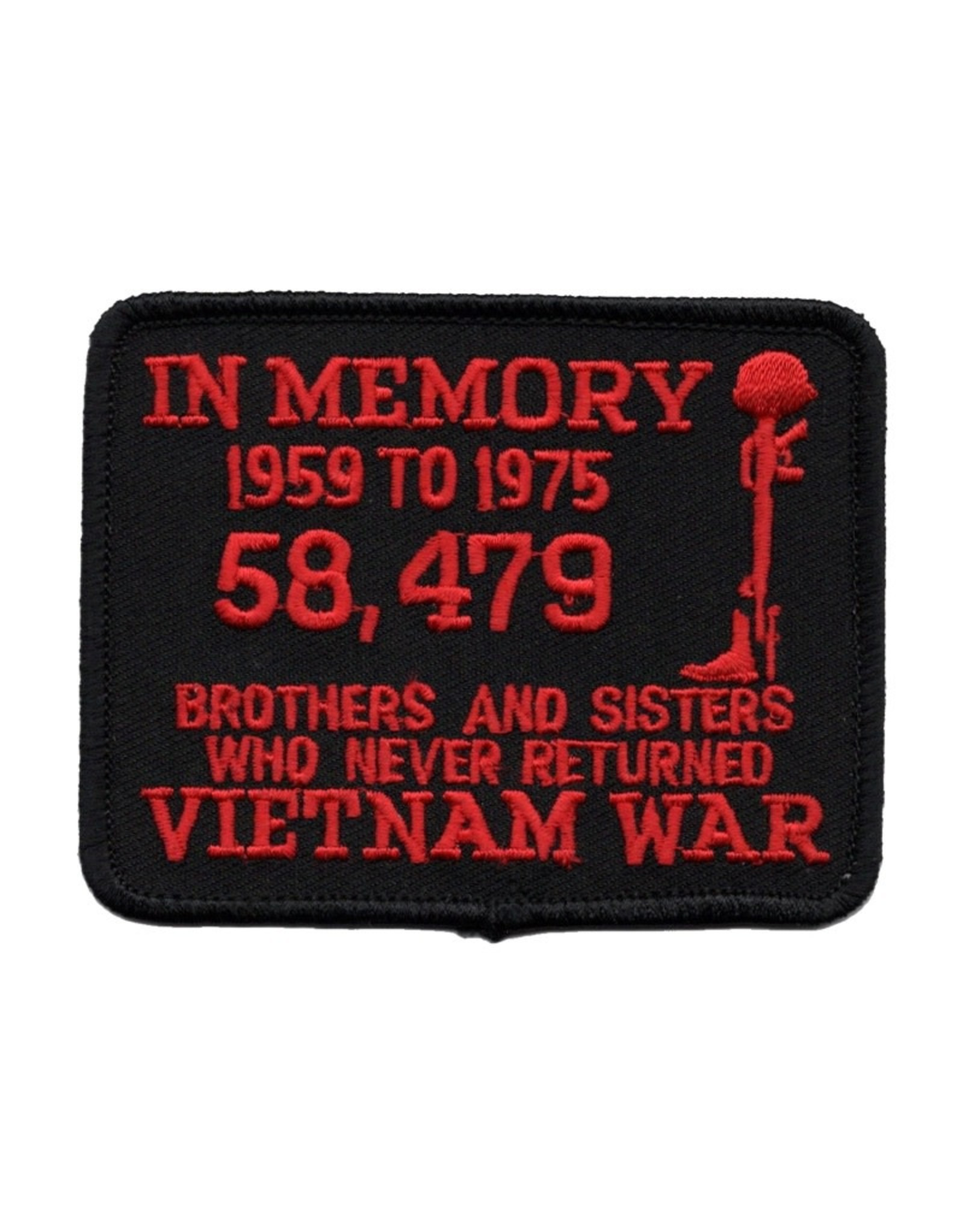 """MidMil Embroidered Vietnam In Memory 58,479 . . .Patch 3.5"""" wide x 2.8"""" high Red on Black"""