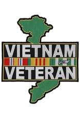 """MidMil Embroidered Vietnam Veteran Back Patch with Ribbons over Country Map 10.5"""" wide x 12"""" high"""
