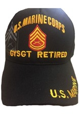 MidMil U.S. Marine Corps GySgt Retired Hat with Rank Emblem and Shadow Black