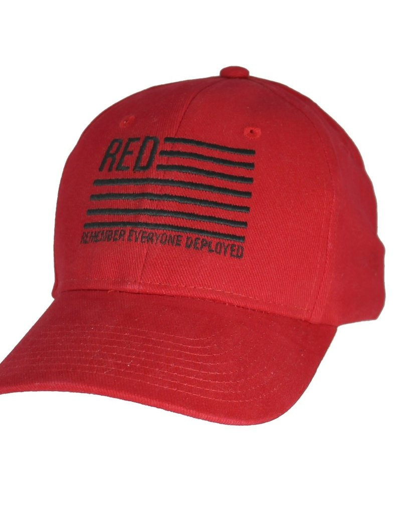 MidMil RED Remember Everyone Deployed Friday Hat with Stars and Stripes Red