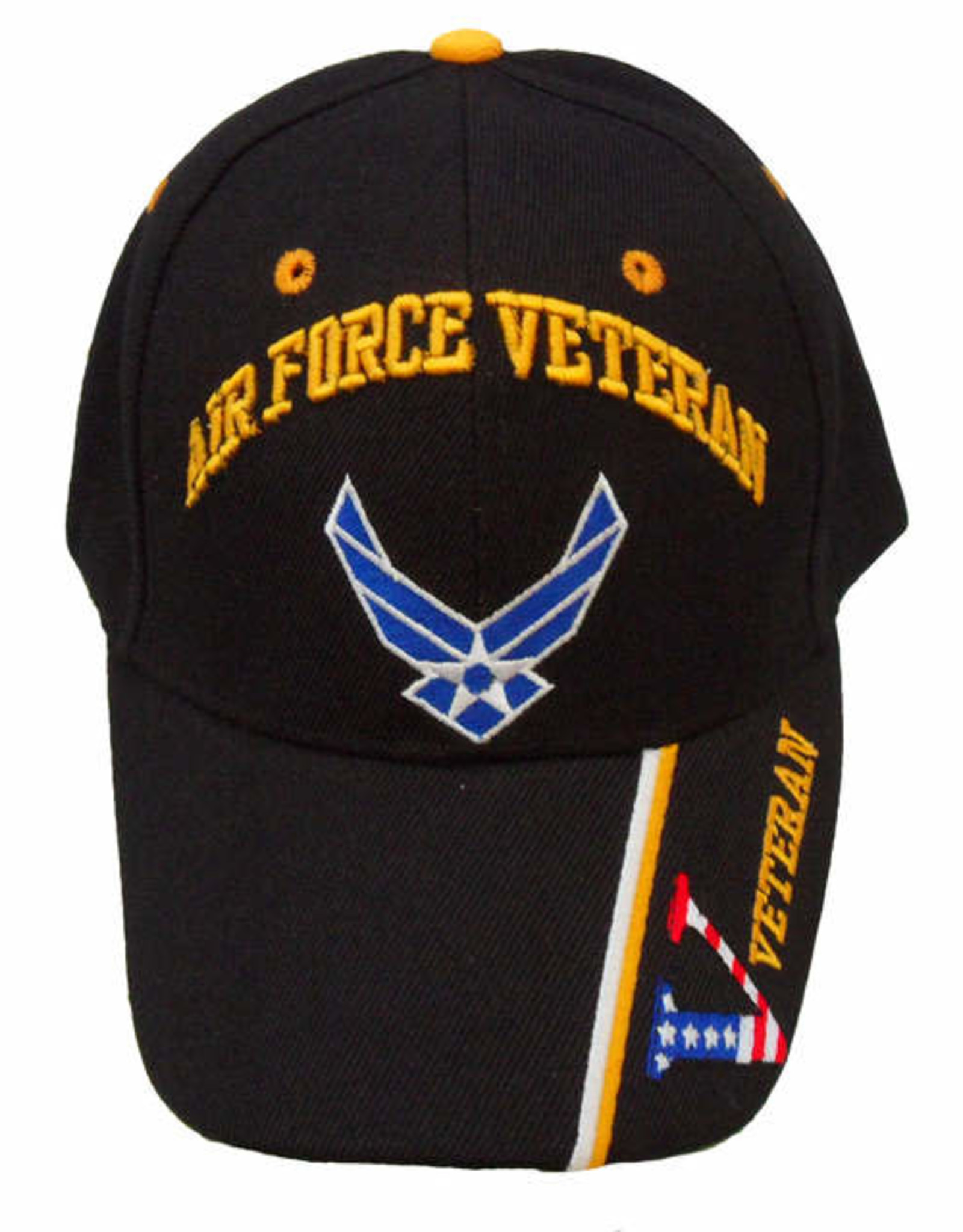 MidMil Air Force Veteran Hat with Wing Emblem and Veteran on Bill Black