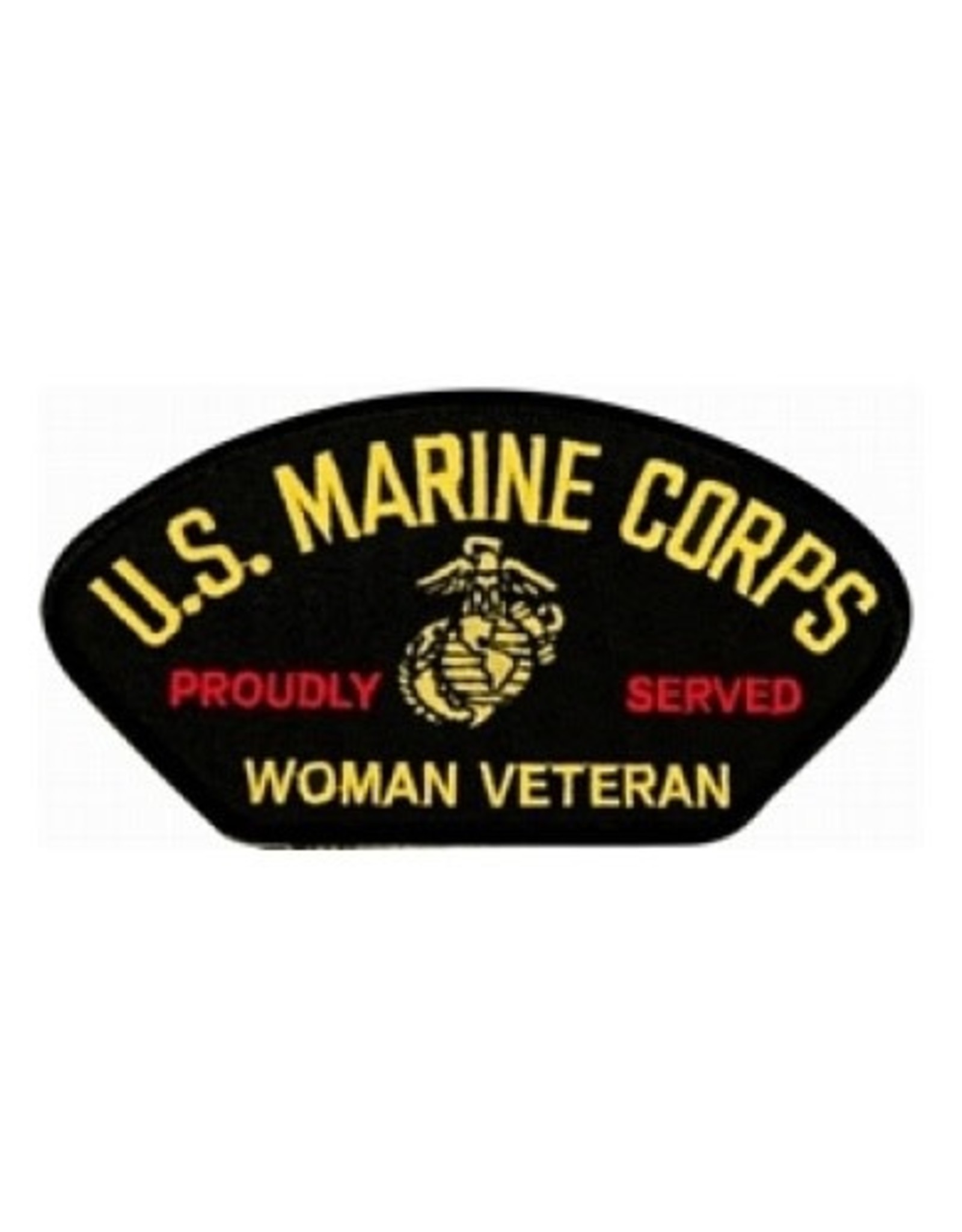 """MidMil Embroidered U.S. Marine Corps Woman Veteran Proudly Served Patch with Globe and Anchor Emblem 5.2"""" wide x 2.8"""" high"""