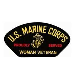 "MidMil Embroidered U.S. Marine Corps Woman Veteran Proudly Served Patch with Globe and Anchor Emblem 5.2"" wide x 2.8"" high"