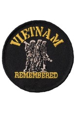 """MidMil Embroidered Vietnam Remembered Patch with 3 Soldiers 3"""" Black"""