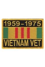 """MidMil Embroidered 1959 - 1975 Vietnam Vet Patch with Service Ribbon 3.5"""" wide x 2.5"""" high"""