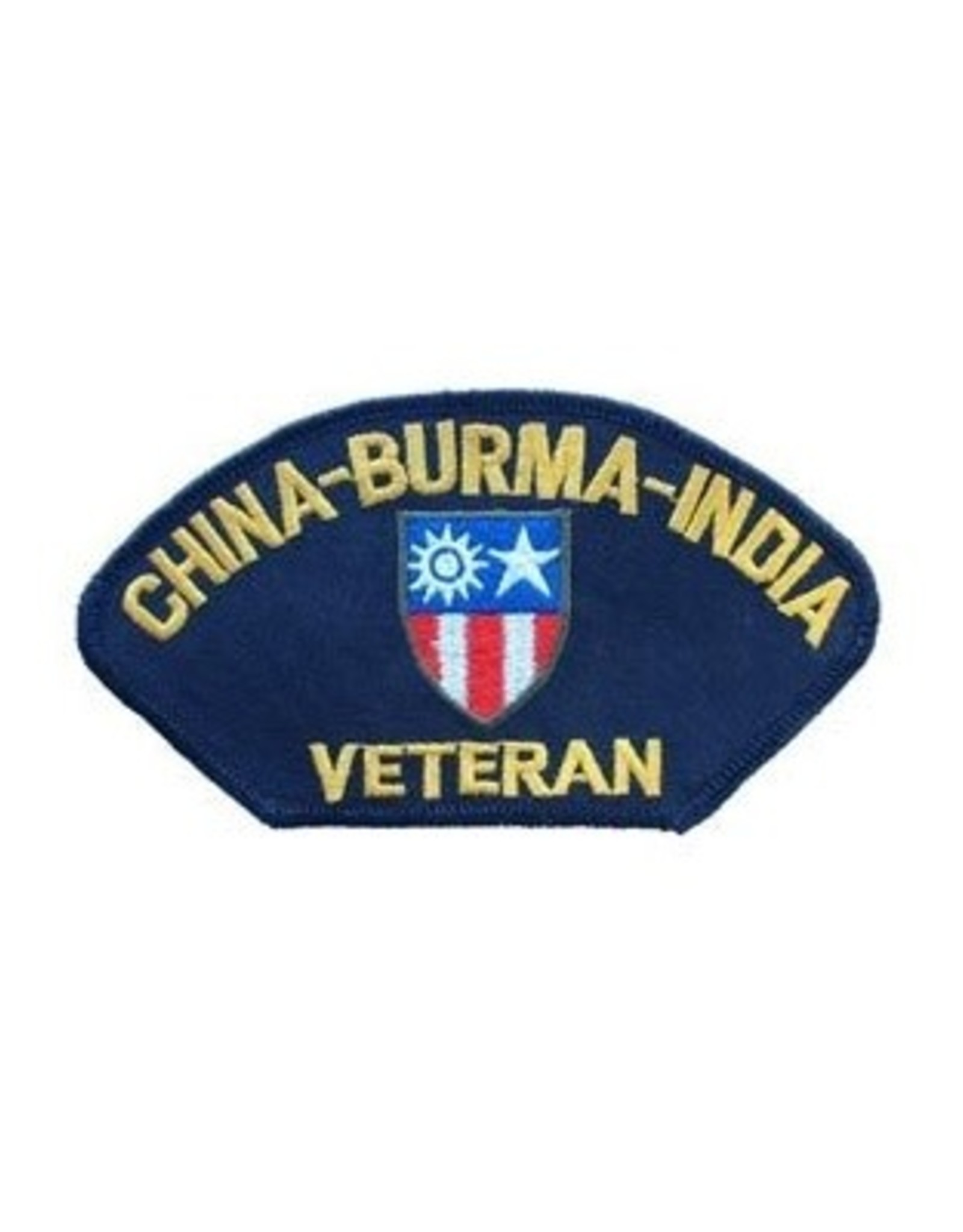 """MidMil Embroidered China-Burma-India Veteran Patch 5.2"""" wide x 2.8"""" high Black"""
