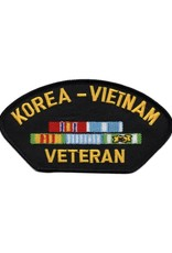 "MidMil Embroidered Korea-Vietnam Veteran Patch with Ribbons 5.2"" wide x 2.8"" high Black"
