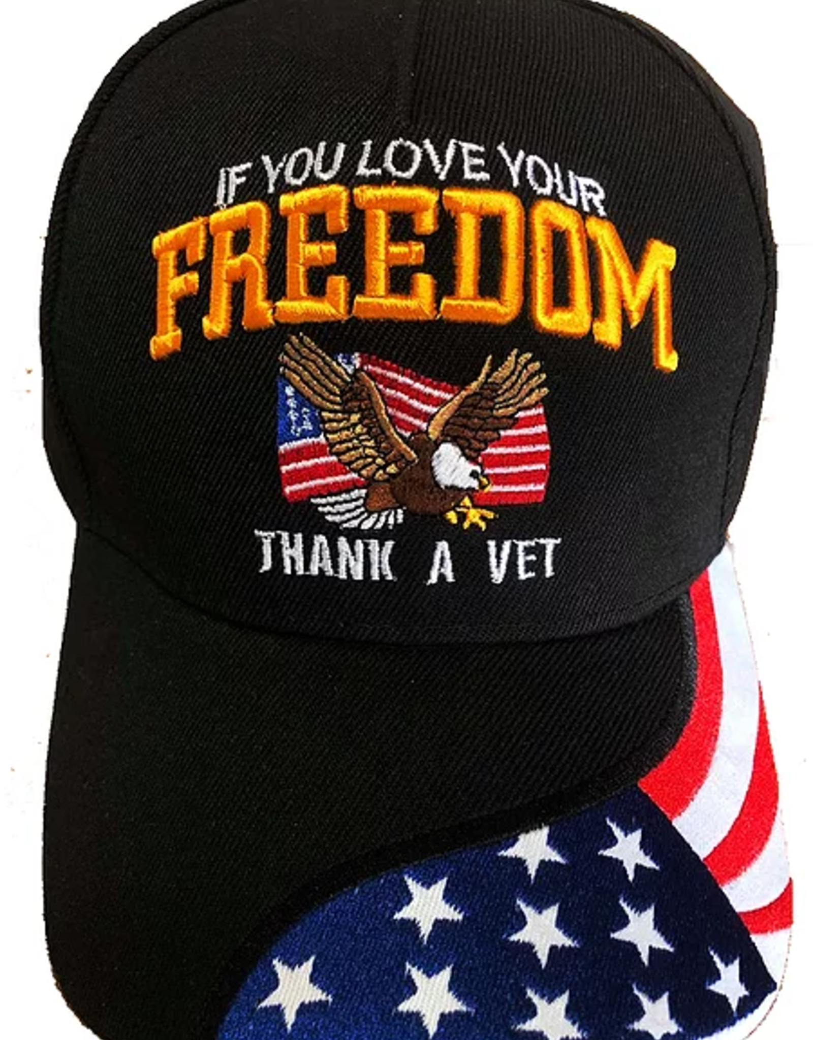 MidMil If You Love Your Freedom ...Thank a Vet Hat with Emblem and Flag Bill Black