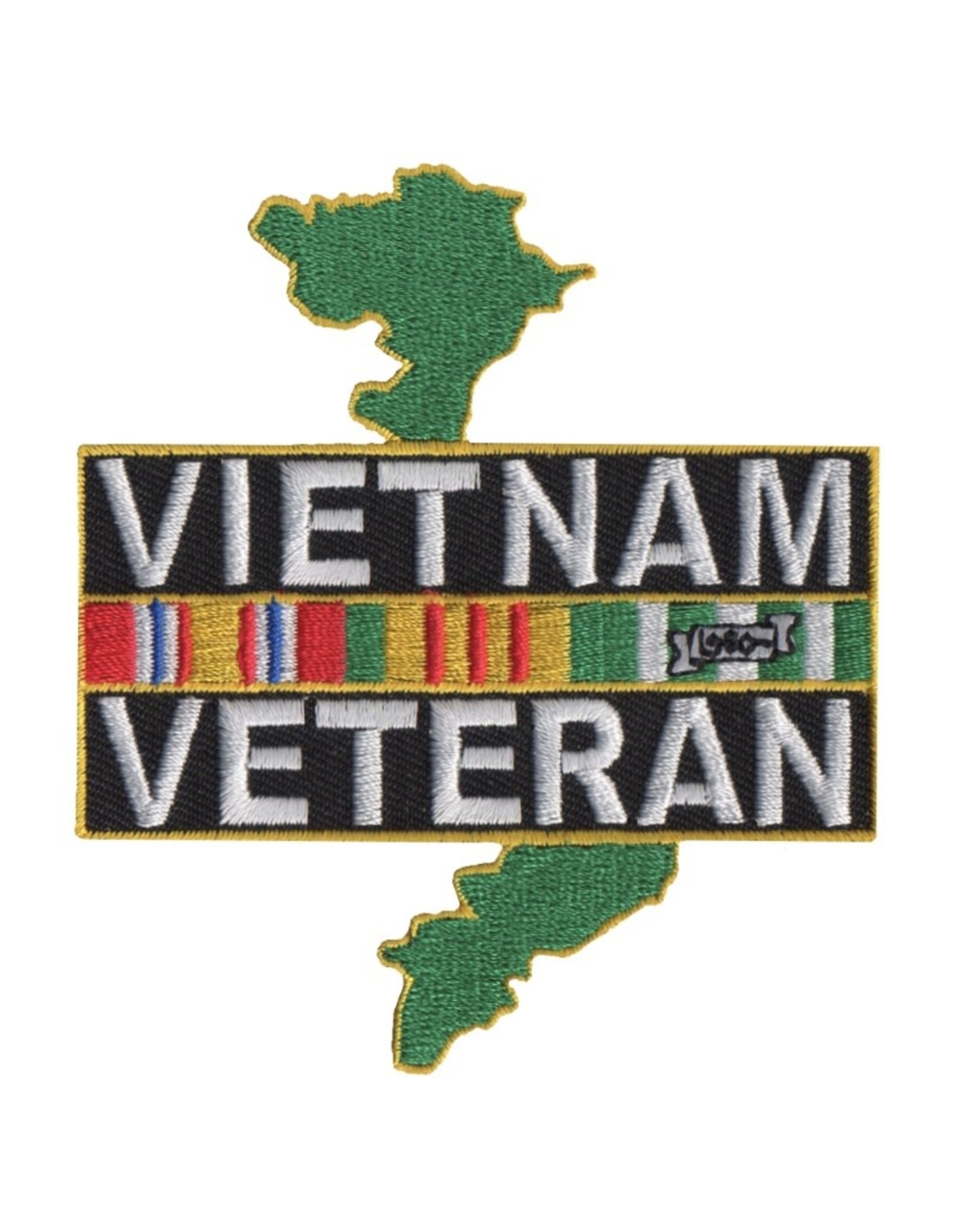 "MidMil Embroidered Vietnam Veteran Patch with Ribbons over Country 3.2"" wide x 3.6"" high"