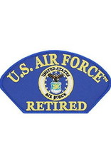 "MidMil Embroidered Air Force Retired Patch with Seal 5.2"" wide x 2.9"" high Royal Blue"