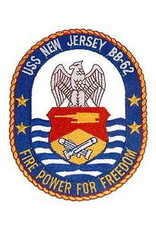 """MidMil Embroidered USS New Jersey BB-62 Oval Patch 2.7"""" wide x 3.4"""" high"""