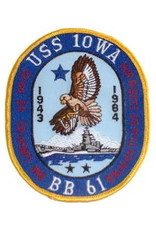 """MidMil Embroidered USS Iowa BB-61 Oval Patch 2.6"""" wide x 3.2"""" high"""