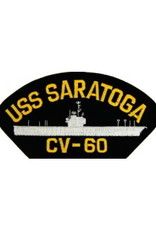 "MidMil Embroidered USS Saratoga CV-60 Patch  5.2"" wide x 2.7"" high Black"