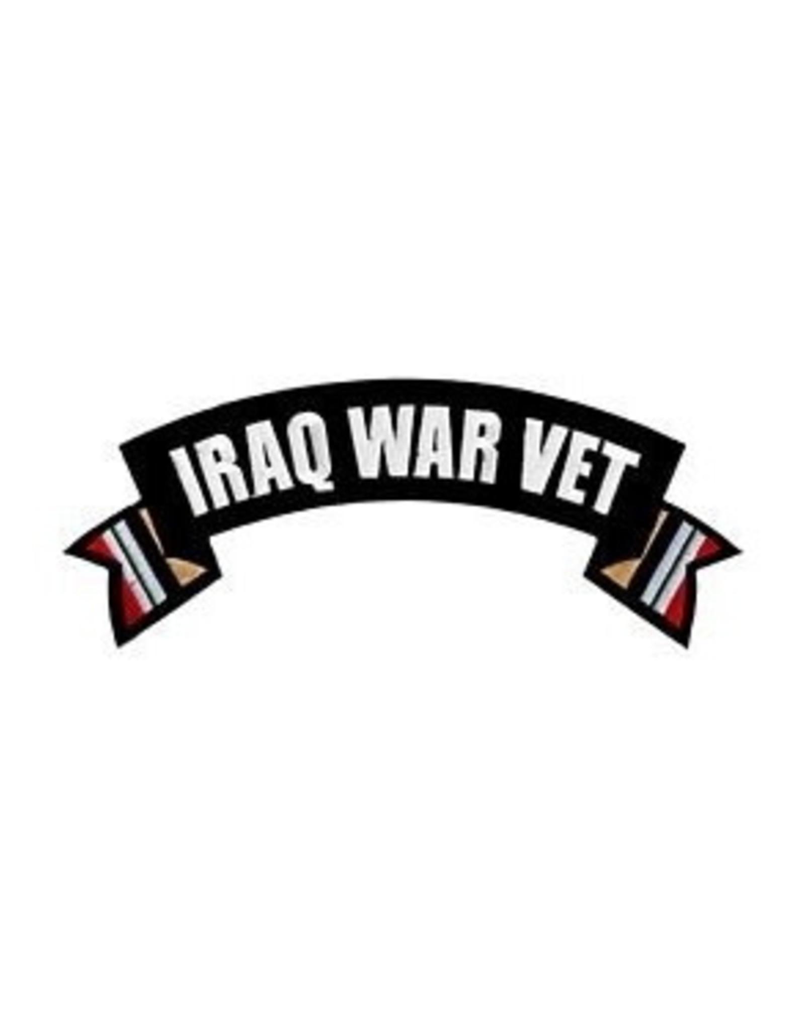 "MidMil Embroidered Iraq War Vet Rocker Back Patch 10"" wide x 4"" high"