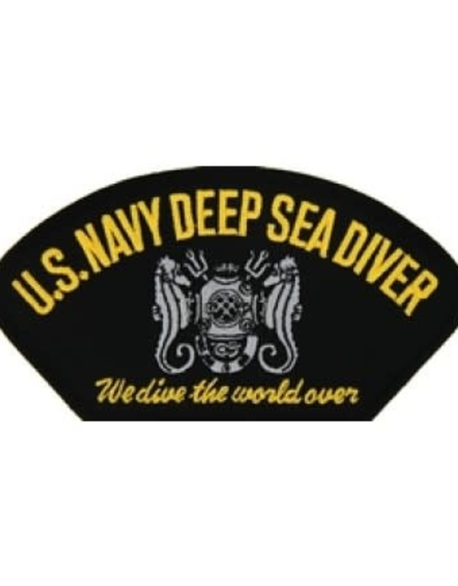 "MidMil Embroidered U.S. Navy Deep Sea Diver Patch with Emblem and Motto ""We Dive the World Over""  5.2"" wide x 2.7"" high Black"
