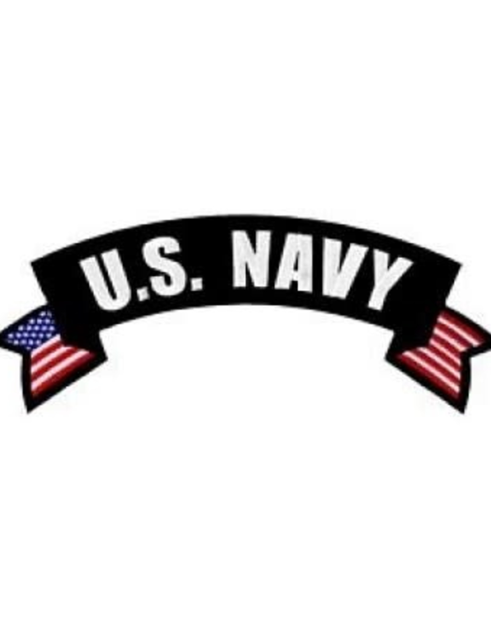 """MidMil Embroidered U.S. Navy Rocker Back Patch with Ribbon Tails 10"""" wide x 4"""" high"""