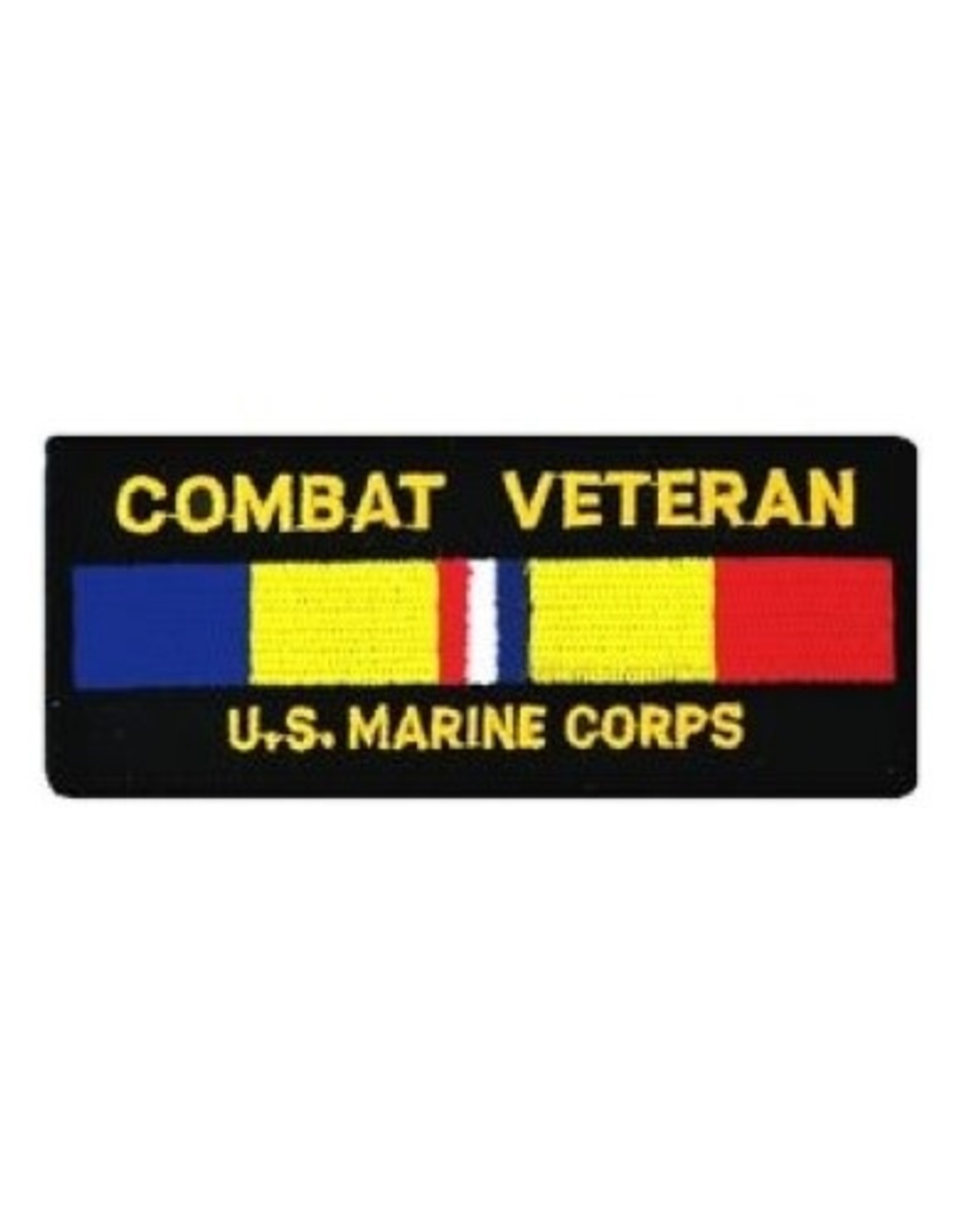"""MidMil Embroidered Combat Veteran U.S. Marine Corps patch with Combat Ribbon 4.25"""" wide x 1.7"""" high"""