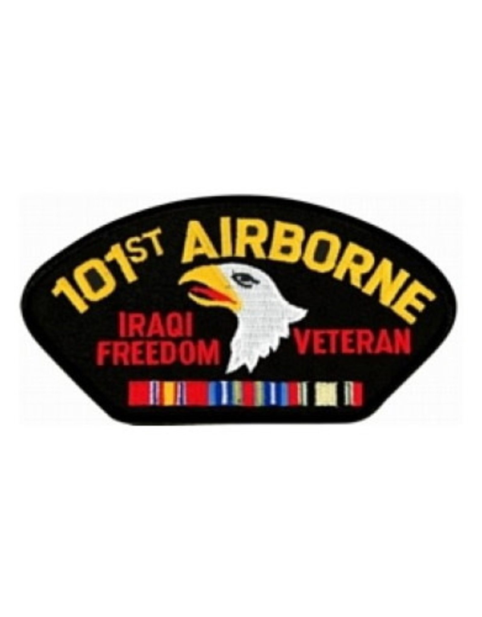 """MidMil Embroidered Army 101st Airborne Division Iraqi Freedom Veteran Patch  with Emblem and Ribbons 5.2"""" wide x 2.7"""" high Black"""