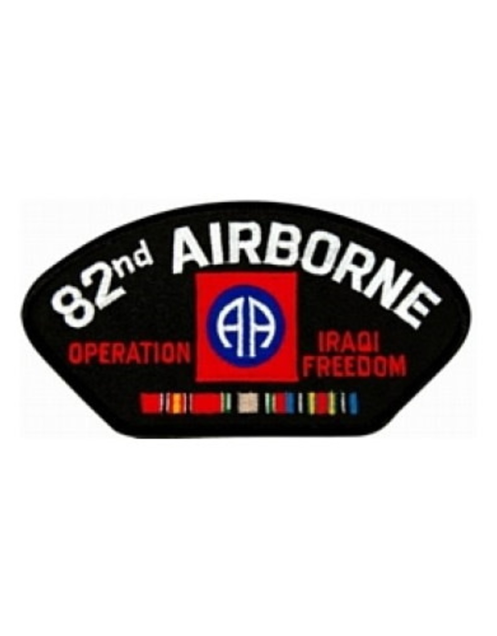 """MidMil Embroidered Army 82nd Airborne Operation Iraqi Freedom Patch with Emblem and Ribbons 5.2"""" wide x 2.7"""" high Black"""