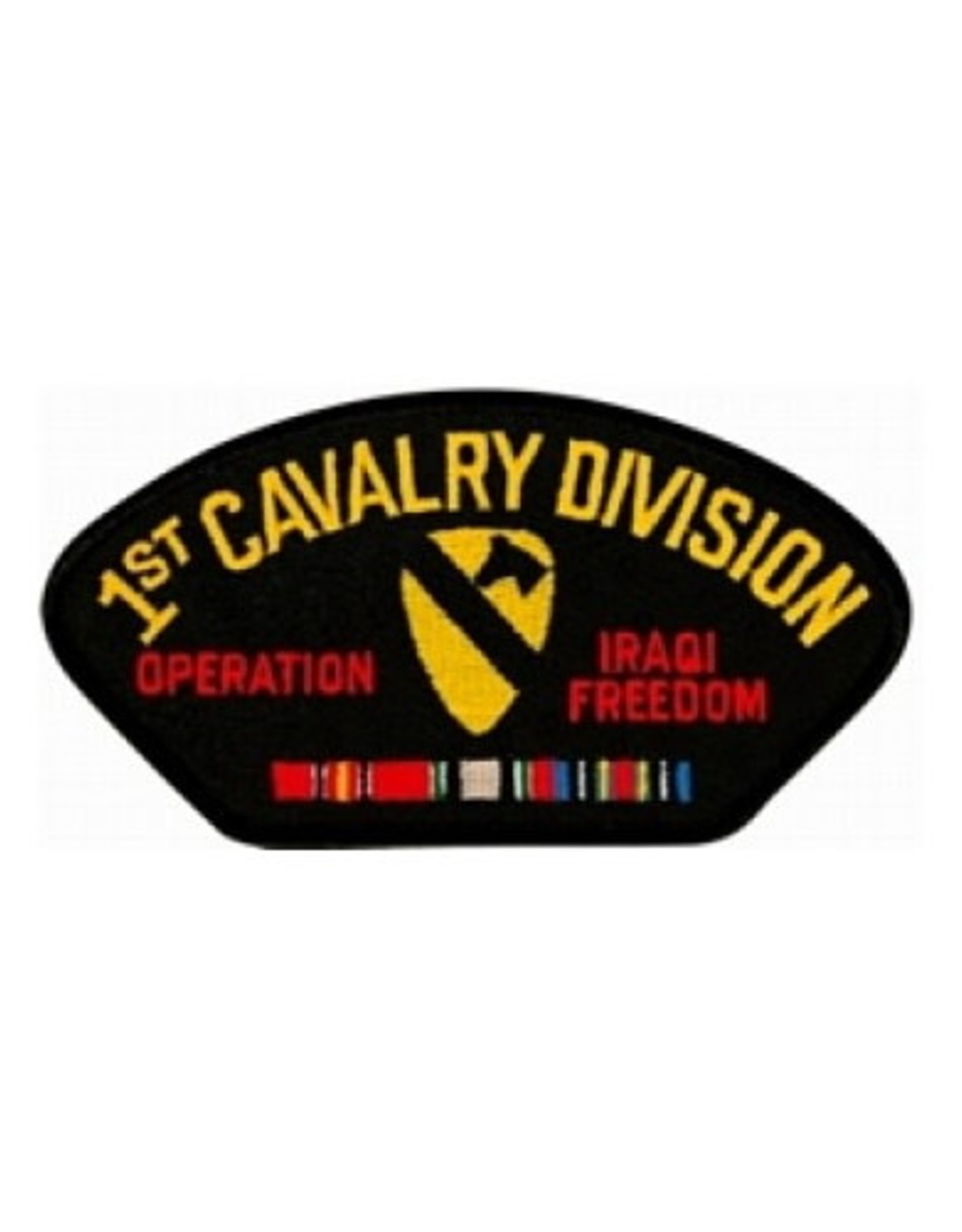 "MidMil Embroidered 1st Cavalry Division Operation Iraqi Freedom  Patch with Emblem and Ribbons 5.2"" wide x 2.7"" high Black"